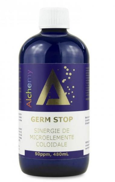 Germ Stop, sinergie de argint, cupru și aur coloidal, 50 ppm, 480 ml, Aghoras Invent 0