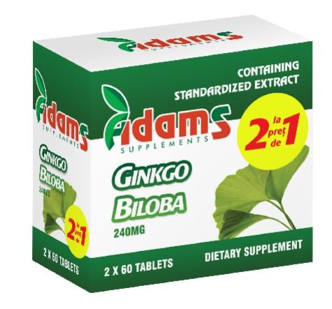 Pachet Ginkgo Biloba, 60 tablete,(1 + 1), Adams Vision 0