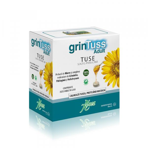 GrinTuss Adult pentru tuse seacă și productivă, 20 comprimate, Aboca 0