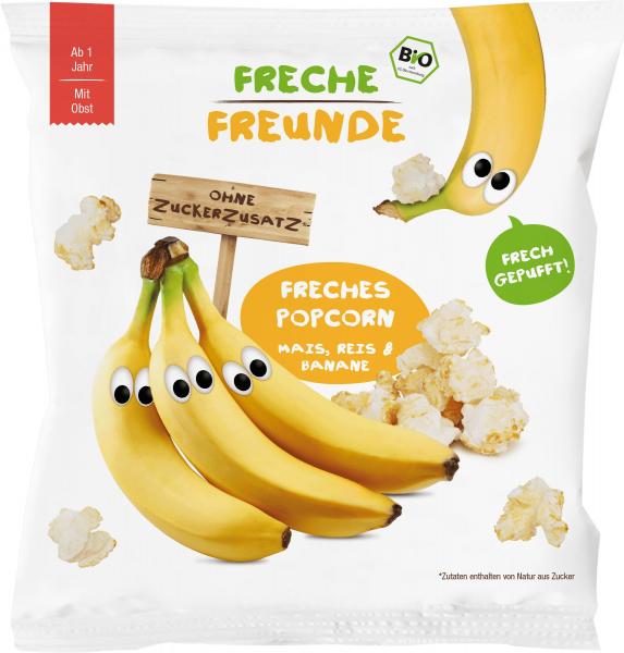 Gustare crocanta popcorn din porumb, orez si banane bio 20g 0