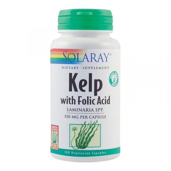 Kelp 550mg și Acid Folic Solaray, 100 capsule, Secom 0