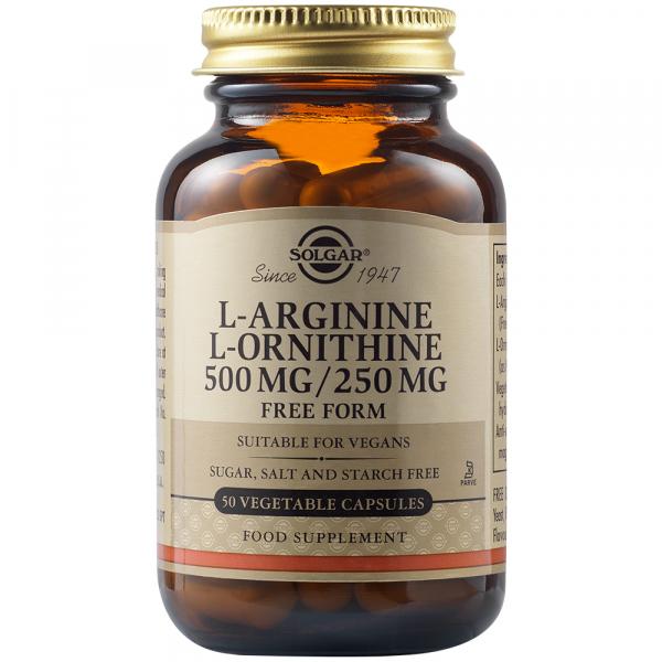 L-Arginina L-Ornitina 500 mg/250 mg, 50 capsule, Solgar 500/250mg 50veg.caps SOLGAR 0