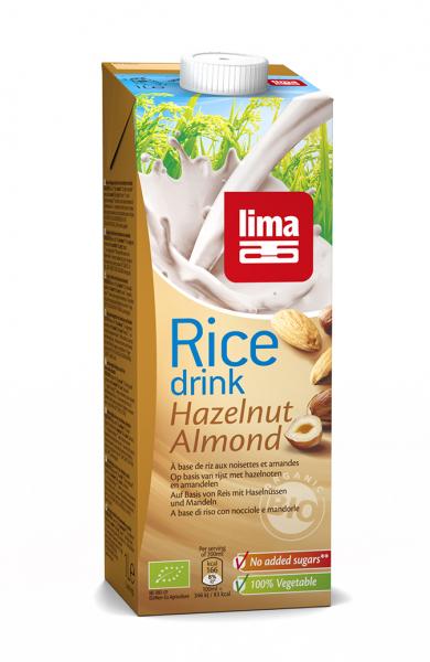 Lapte de orez cu migdale si alune de padure bio 1L 0