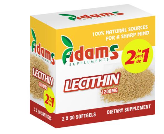 Pachet Lecitina 1200mg (AV121), 2x30 capsule, Adams Vision 0