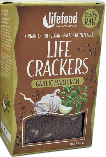 Life Crackers cu usturoi si maghiran raw bio 90g 0