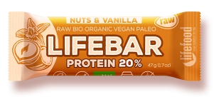 Lifebar baton proteic cu nuci si vanilie raw bio 47g 0
