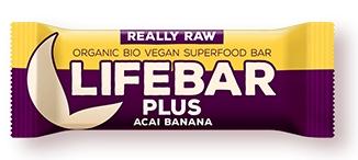 Lifebar Plus baton cu acai si banane raw bio 47g 0