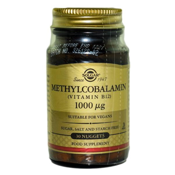 Metilcobalamina Vitamina B12 1000 μg, 30 tablete, Solgar 0