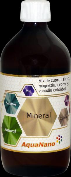 Mineral AquaNano cu Zn Cu Mg Cr Vanadiu coloidal 10ppm 480 ml 0