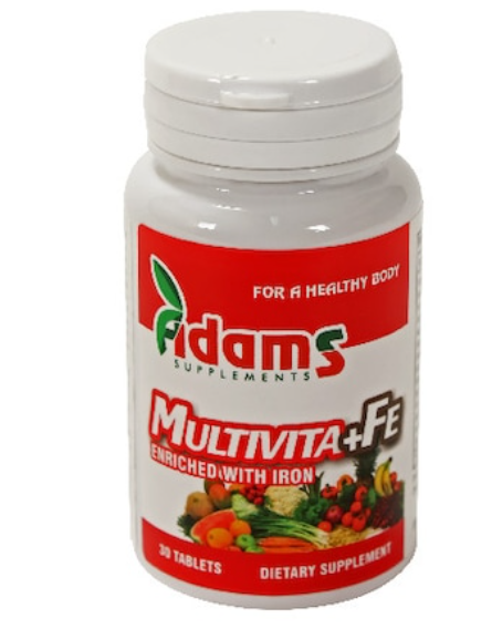 Multivita+Fe, 30 tablete, Adams Vision 0