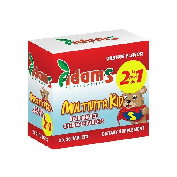 Pachet Multivitakid, 30 tablete masticabile (2x30), Adams Vision 0