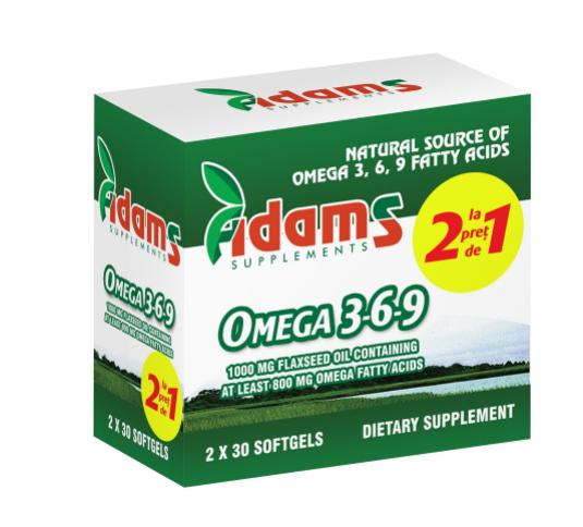 Pachet Omega 3-6-9 ulei din semințe de in, 2x30 capsule, Adams Vision 0