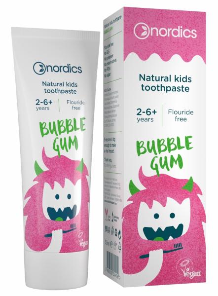 Pasta de dinti naturala pentru copii Bubble Gum 50ml Nordics 0