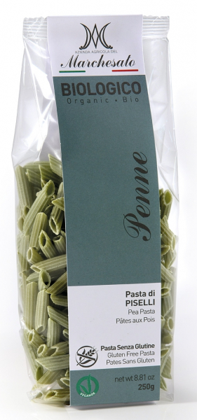 Penne din mazare verde fara gluten, bio, 250g Marchesato 0
