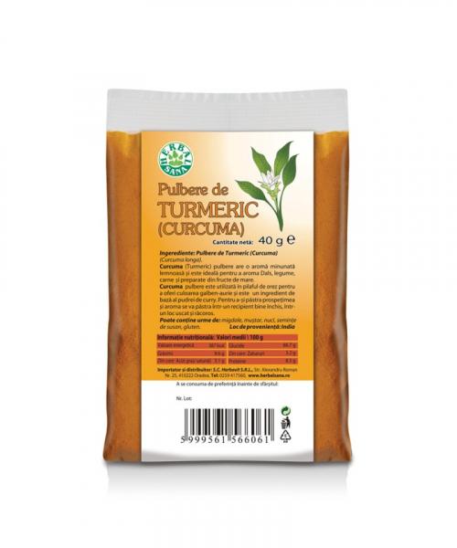 Pulbere de Turmeric, 40 g, Herbavit 0