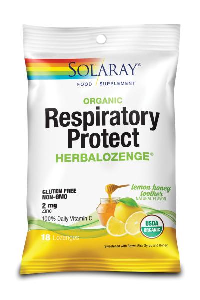 Dropsuri pentru gât Respiratory Protect HerbaLozenge Lemon Honey Soother Solaray, 18 bucăți, Secom [0]