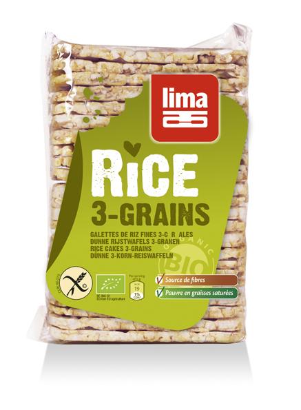 Rondele de orez expandat cu 3 cereale bio 130g 0
