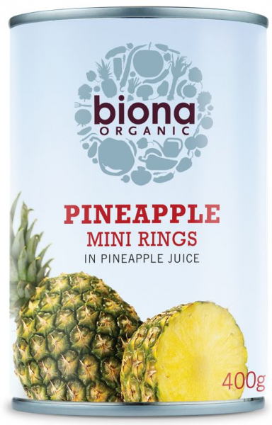 Rondele mini de ananas in suc de ananas bio 400g Biona 0