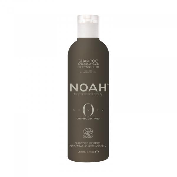 Sampon BIO purificator cu ulei esential de menta pentru par si scalp gras, Noah, 250 ml 0