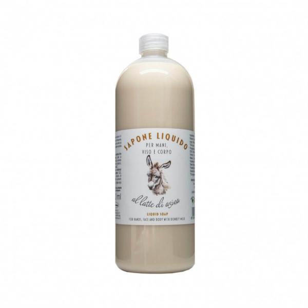 Sapun lichid hidratant pentru maini, fata si corp cu lapte de magarita, La Dispensa, 1000 ml 0