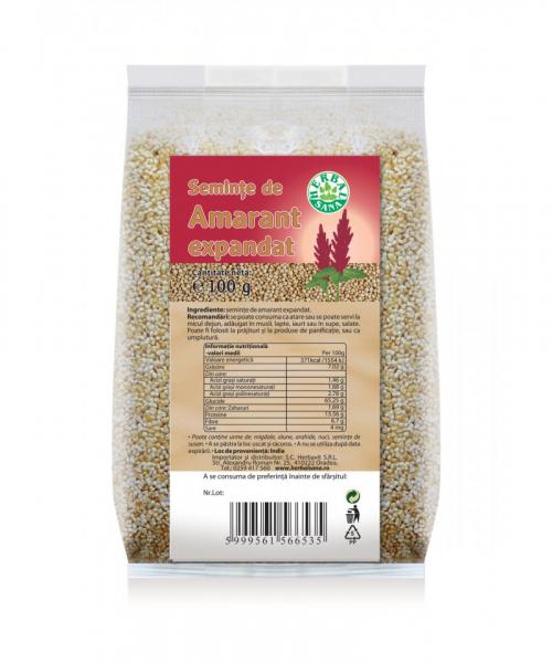 Seminte de Amarant expandat, 100 g, Herbavit 0