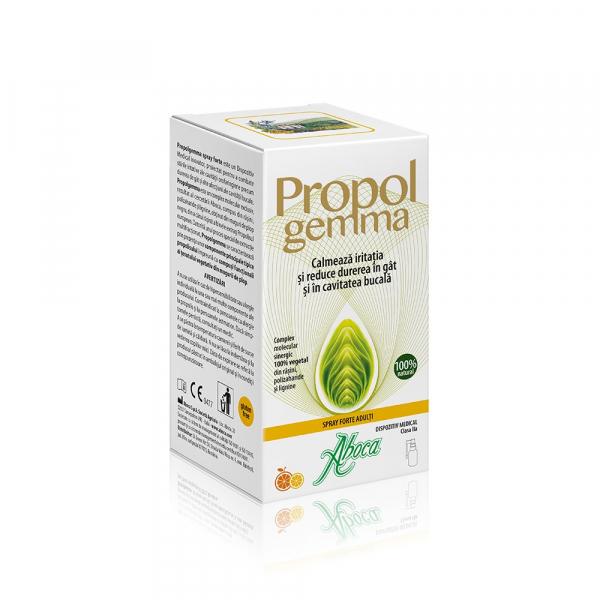 Spray de gât cu alcool pentru adulți Propolgemma Forte, 30 ml, Aboca 0