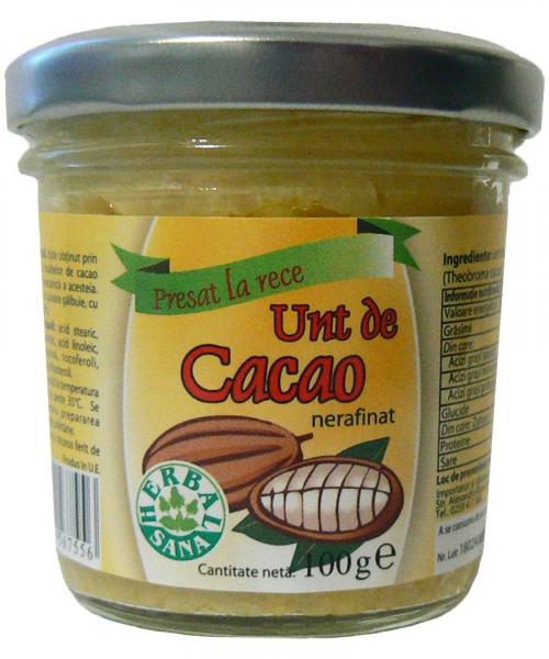 Unt de cacao nerafinat, 100 g, Herbavit 0
