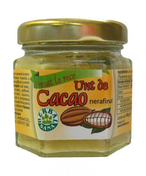 Unt de cacao nerafinat, 40 g, Herbavit 0