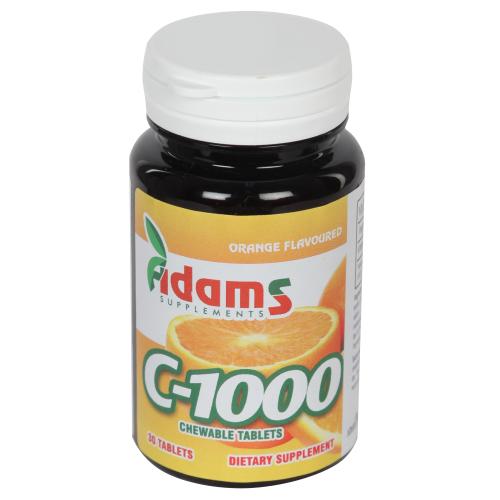 Vitamina C 1000 cu portocale, 30 tablete, Adams Vision 0