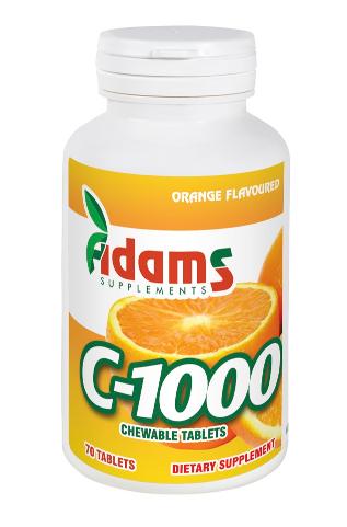 Vitamina C-1000, 70 tablete masticabile, Adams Vision 0