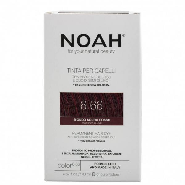 Vopsea de par naturala,Blond roscat inchis, 6.66, Noah, 140 ml [0]