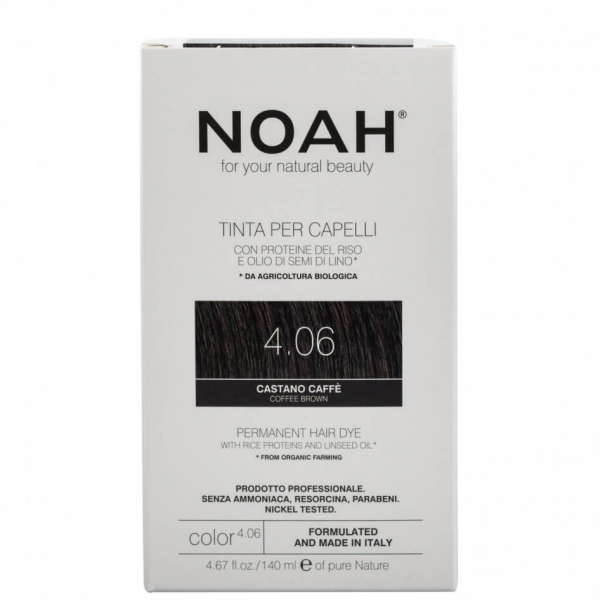 Vopsea de par naturala,Saten cafeniu,4.06, Noah, 140 ml 0