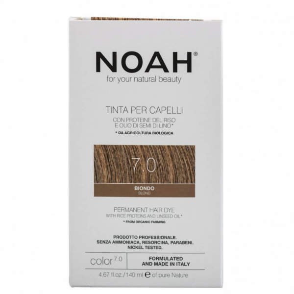 Vopsea de par naturala, Blond, 7.0, Noah, 140 ml [0]