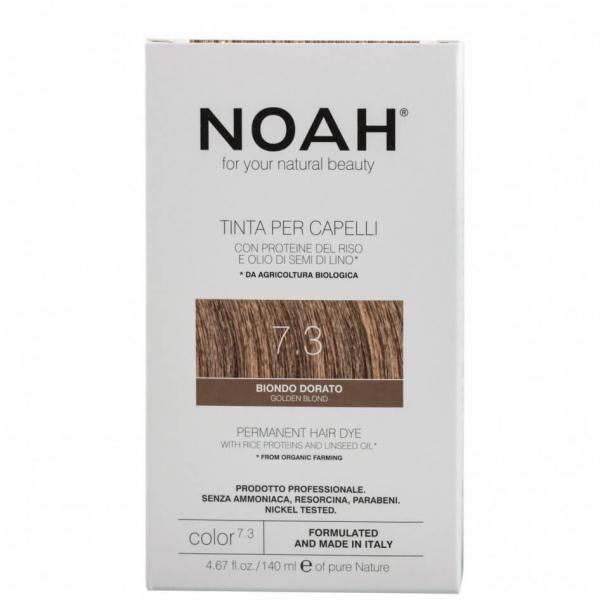 Vopsea de par naturala, Blond auriu, 7.3,Noah, 140 ml [0]