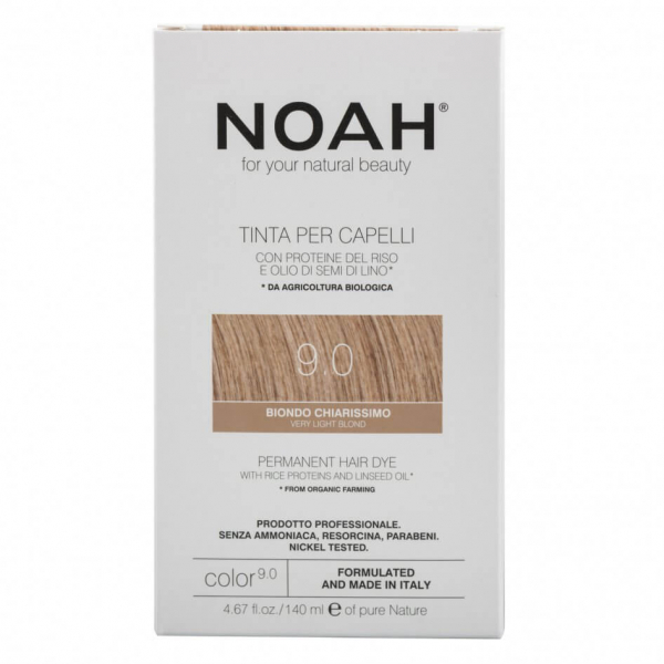 Vopsea de par naturala, Blond foarte deschis, 9.0, Noah, 140 ml [0]