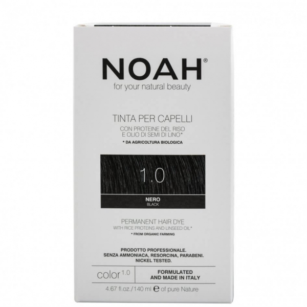 Vopsea de par naturala, Negru, 1.0, Noah, 140 ml [0]