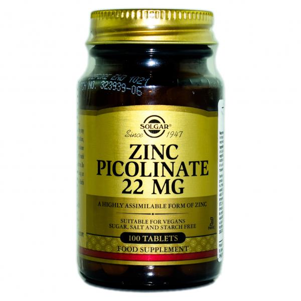 ZINC PICOLINATE 22mg 100tb SOLGAR 0