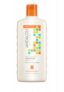 Șampon cu ulei de argan și unt de shea pentru păr uscat și deteriorat Moisture Rich Andalou, 340 ml, Secom0