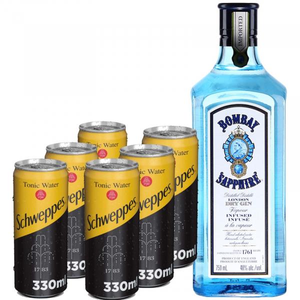 Pachet Bombay Saphire 0.7L & Schweppes Tonic Water 6X330 ml [0]