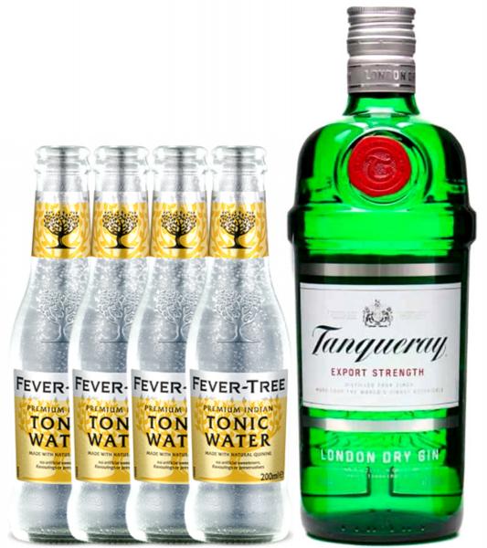 Pachet Tanqueray Gin 0,7L & Apa Tonica Premium Fever Tree 4X0,2L [0]