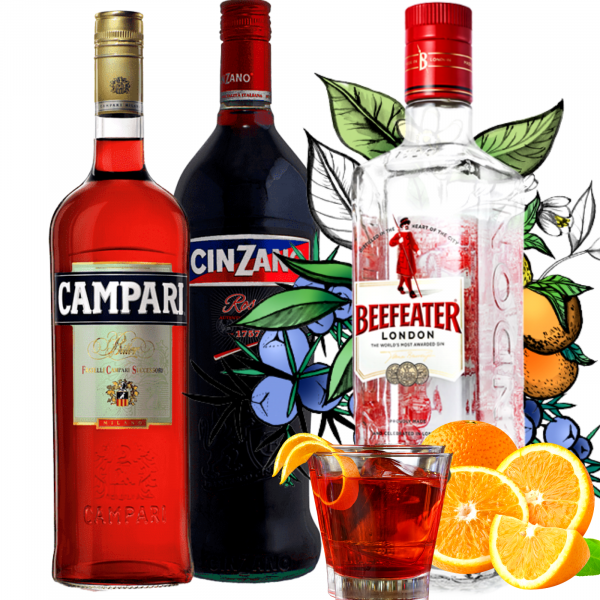 Pachet Negroni Campari 1L&Cinzano Rosso 1L&Beefeater 0.7L [0]