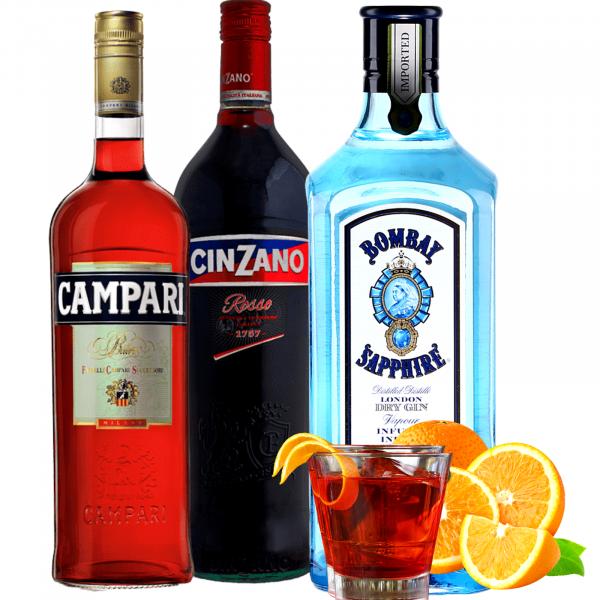 Pachet Negroni - Campari 1L&Cinzano Rosso 1L&Bombay Sapphire 0.7L [0]