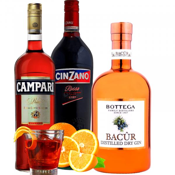 Pachet Negroni Campari 1L&Cinzano Rosso 1L&Bottega Bacur Premium Dry Gin 0.5L [0]