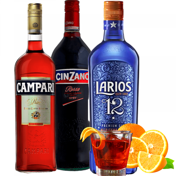 Pachet Negroni Campari 1L&Cinzano Rosso 1L&Larios 12 Gt Gin 0.7L [0]