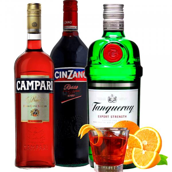 Pachet Negroni Campari 1L&Cinzano Rosso 1L&Tanqueray 0.7L [0]