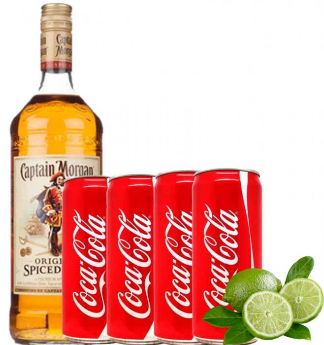 Pachet Captain Morgan Spiced 0.7L & 4xCoca Cola 0.33L & 2 Lime [0]