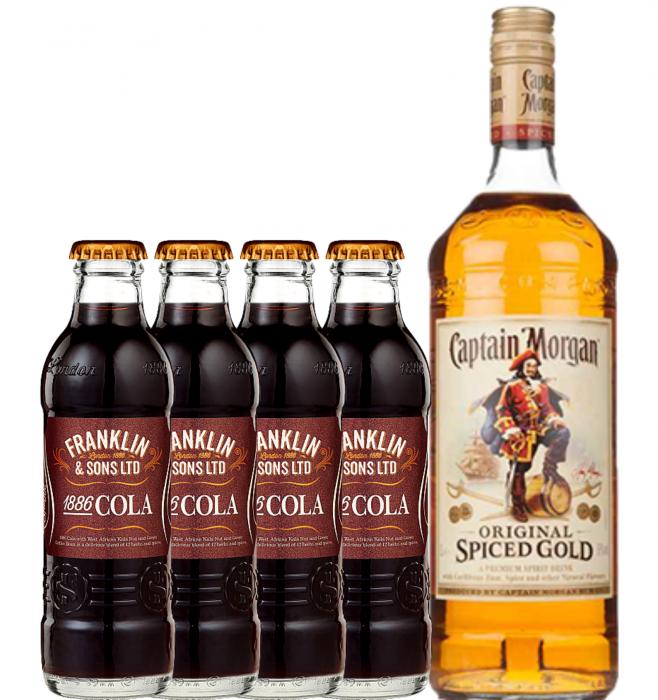Pachet Cuba Libre Captain Morgan Spiced 0.7L & Franklin&Sons Cola 4X0.2L [0]