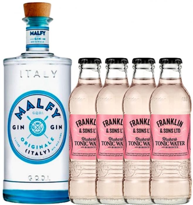 Pachet Gin Malfy Original 0.7L & Rhubarb&Hibiscus Tonic Water 0.2L [0]