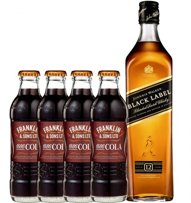Pachet Johnnie Walker Black Label 0.7L & Franklin&Sons Cola 4X0.2L [0]