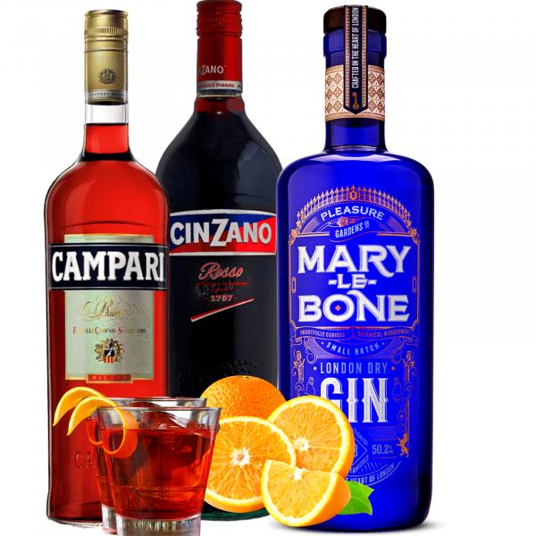 Pachet Negroni Campari 0.7L&Cinzano Rosso 1L&Gin Mary Le Bone 0.7L [0]